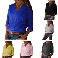 Damen Bluse Stern V-Ausschnitt Shirt Oberteile Tops Business Freizeit Langarm HJ