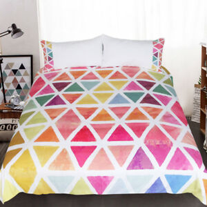 Designer Bedding Set Bedclothes Creative Custom Made Colorful Geometric 3pcs Duv