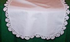 Pristine White Vintage Doily, Runner, Crochet Trim, Ex. Condition, c1930