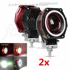 2Pcs Halo Ring 35W LED Spot Head Fog Light Motorcycle ATV High+Low Flash Lamp