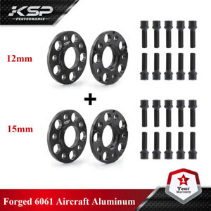 For Mercedes Benz 5x112 Staggered 15 MM & 12 MM Hub Centric Spacers W/ Lug Bolts