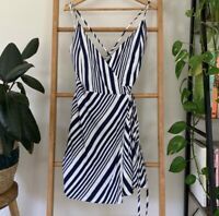 Bardot NWT Womens Navy And White Izey Stripe Wrap Dress Size 12 RRP 89.99