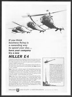 1961 Hiller E4 Helicopter Executive Clients or Workhorse photo vintage print ad