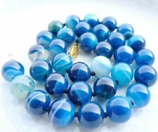 Blue Chalcedony Agate Beads Necklace#Zy3524 10Mm Antique Art Deco Genuine Rare