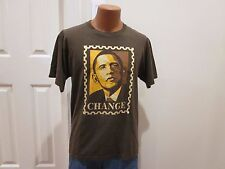 ICONIC PRESIDENT BARACK OBAMA CHANGE T SHIRT ARTIST SHEPARD FAIREY BROWN LARGE