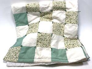 "Handmade Quilt White Mint Green Square Throw Blanket 39""x39"""