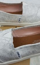 New Authentic Toms White Silver Floral Print Slip On Casual Shoes Women's Sz 6.5