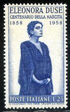 Repubblica Italiana 1958 Eleonora Duse n. 848 ** varietà decalco (m2241)