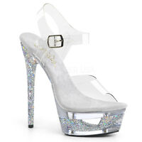 Pleaser ECLIPSE-608GT Women's Clear Silver Multi Glitter Heel Ankle Strap Sandal
