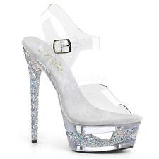 Pleaser ECLIPSE-608GT Women's Clear Silver Multi Glitter Heel Ankle Strap Sandal