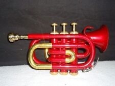 **VALUEABLE! RED COLOURED BRASS Bb FLAT POCKET TRUMPET FREE HARD CASE+M/P