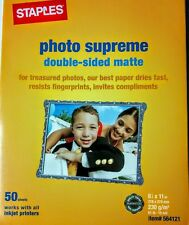 "NEW Staples Photo Supreme Paper 8 1/2"" x 11"" Double Sided Matte Printer 50 Pack"