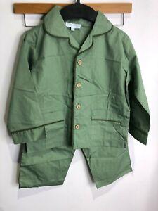 BNWT Marie Chantal sage green 100% cotton piped edge two piece pyjama set Age 3