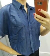 Zara denim look blue cropped short sleeves shirt size S