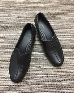 Footglove Low Block Heel Comfort Shoes In Black Leather Size 6