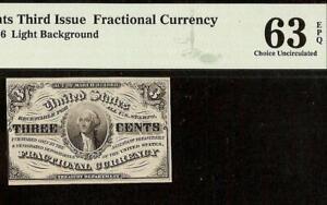 3 THREE CENT NOTE 1864 FRACTIONAL CURRENCY CIVIL WAR ERA MONEY F 1226 PMG 63 EPQ