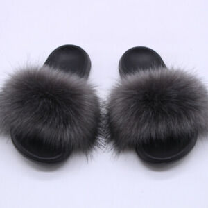 Womens Casual Slip On Shoes Open Toe Flat Sandals Faux Fur Eva Slippers Fashion