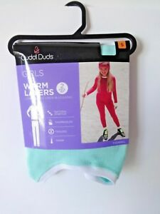 CUDDL DUDS Climate Smart girls crew top bottoms Set size S 6/6X aqua thumbholes