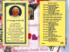 Pope Benedict w/Message to Sick + Don't Quit on back - Laminated  Holy Card