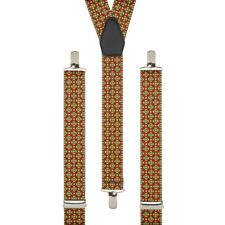 Tudor Flowers Red Yellow Clip On Trouser Braces Elastic Suspenders Handmade UK