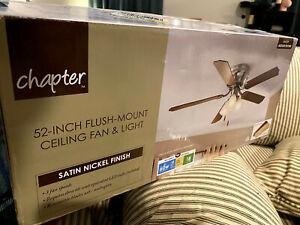 Chapter 3-Light Ceiling Fan 52-inch Flush-mount Fan & Light 3 speed Satin Nickel