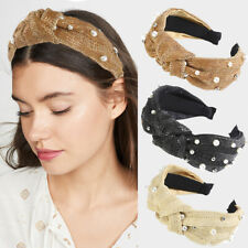 Fashion Straw Weave Pearl Knotted Headbands Hairband Hoop Women Hair Accessories