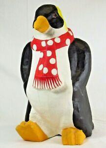 "Paper Mache Penguin Sculpture 16""H Studio Art Hand Painted Unsigned"
