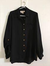 MICHAEL KORS Black Silk Down Button Shirt Size XS Long Adjustable Sleeve