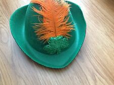 Hat Green Hair Accessory  Cheap With Orange Feather  St Patricks Day Costume