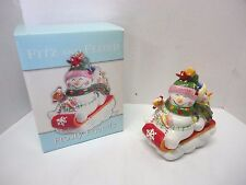 Fitz & Floyd Frosty Friends Covered Candy Dish Trinket Box Jar Snowman On Sled