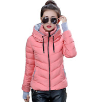 NEW FASHION WOMENS LADIES QUILTED WINTER COAT HOODED WARM JACKET PARKA SIZE