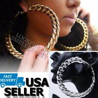 Large Cuban Link Chain Hoop Earrings Gold Silver Hip Hop 3.5 Inch Cardi Nicki