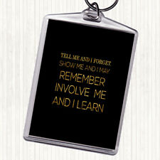 Black Gold I Learn Quote Bag Tag Keychain Keyring