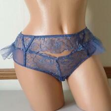 VICTORIA'S SECRET DREAM ANGELS BLUE MESH LACE CUTOUT RUFFLE THONG PANTIES MEDIUM
