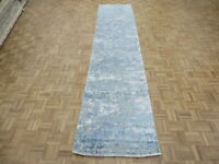 3 x 13'11 Runner Hand Knotted Blue Modern Abstract Oriental Rug With Silk G8288