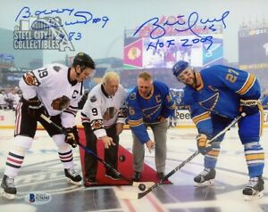 "Brett Hull and Bobby Hull ""HOF 2009, HOF 1983"" Autographed 8x10 Photo - BAS (B)"