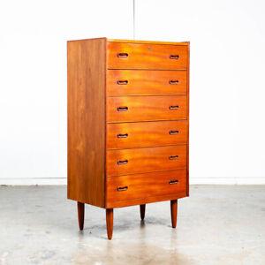 Mid Century Danish Modern Highboy Dresser 6 Drawer Teak Wood Denmark Restored NM