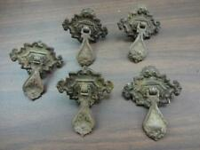 5x Antique Architectural Metal Two Piece Tear Drop Drawer Pulls Ornate Victorian
