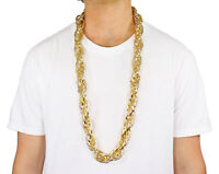 """Adult 40"""" Heavy Rope Old School Rapper Cosplay Costume Gold Pimp Chain Bling"""