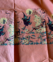 1 Rare Vintage Tuttle Halloween Crepe Paper Panel Witch Ghosts Owl Black Cat