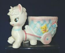 Vintage Baby Lamb Pulling Cart Planter Napcoware ABC's C-7079 Nursery Decor