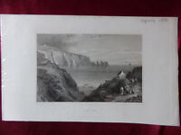 VIEW of ALUM BAY (NEEDLES), ISLE OF WIGHT Antique engraving c1830 Veduta print