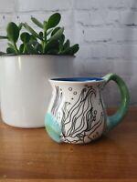 Cypress Home Hand Painted 14oz Coffee Mug Sculpted Ceramic Mermaid Seashell
