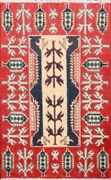 Vegetable Dye Handmade Super Kazak Geometric Oriental Area Rug Wool Carpet 2'x3'