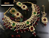 Gold Plated Choker Bollywood Indian Kundan Multi Necklace Earrings Tikka Set