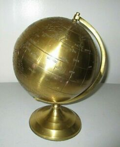 "10"" Spinning Brass Globe World Felt Bottom India"