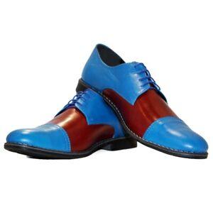 Modello Graziano Handmade Colorful Italian Leather Oxford Dress Shoes Brown