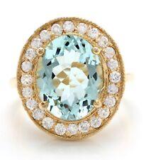 8.35 Carat Natural Blue Aquamarine and Diamonds 14K Solid Yellow Gold Ring