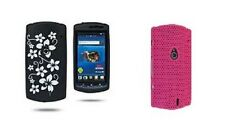 Sony Ericsson Neo MT15i Cover Skin Pink Hard Mesh, Black Soft Gel White Flower