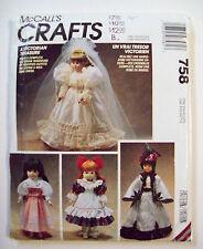 "Victorian Wedding dress cape dresses doll clothes pattern 758 sz 13 - 14"" & 16"""